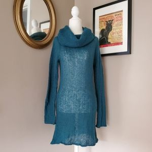 Wooden Ships Teal Blue Cowl Neck Tunic Sweater S/M
